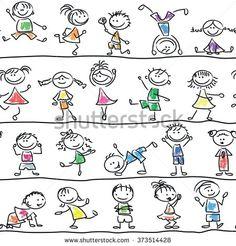 Cute doodle happy cartoon kids seamless pattern