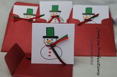 Pack of Four Small Snowman Cards Handmade by JemLouProductions, $3.00