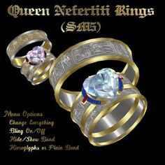 Beautiful The Queen Nefertiti is an Egyptian theme set of wedding rings