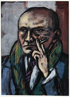 Max Beckmann (German, 1884-1950) - Self-portrait with cigarette, 1947