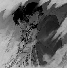 you could take this two ways.1) Eren is dead and Levi is crying. or....2) Levi is using all his strength to pull Eren out of his titan form. I like to look at it as number two.
