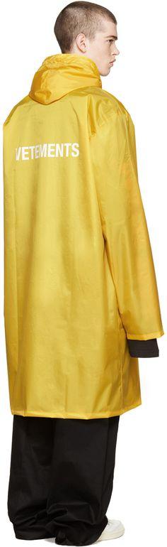 Vetements - Yellow Oversized Logo Rain Coat