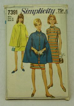 Simplicity 7391 1960s 60s Dress and Cape by EleanorMeriwether