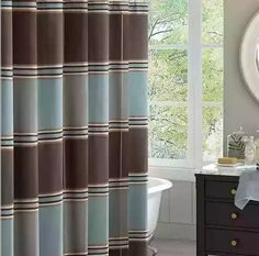 Lincoln Square is a classic oversized, colorblock jacquard shower curtain. The shades of blue, grey and brown make it easy to coordinate to any bathroom. The fabric also has a unique ottoman weave, giving the shower curtain extra details and value. Brown Curtains, Teal Bathroom, Home Essence, Blue Shower Curtains, Bathroom Decor, Curtains, Shower Curtain, Blue And Brown Curtains, Guest Bathrooms