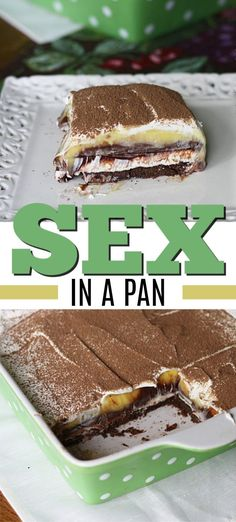 Sex in a Pan. It's delicious, almost impossible to resist and always goes over b… Sex in a Pan. It's delicious, almost impossible to resist and always goes over big. Don't worry about finding room in the fridge for leftovers, because there won't be any! Mini Desserts, Chocolate Desserts, No Bake Desserts, Easy Desserts, Delicious Desserts, Yummy Food, Slow Cooker Desserts, Sweet Recipes, Cake Recipes