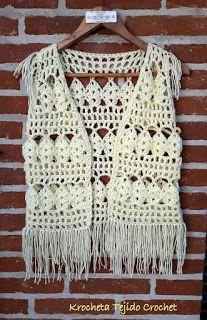 Cute Crochet, Easy Crochet, Knit Crochet, Gilet Kimono, Estilo Hippie, Crochet Summer Tops, Crochet Square Patterns, Crochet Jacket, Crochet Woman