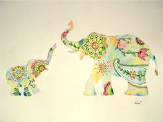 Elephant Watercolor Painting, Colorful Design Print, Indian Style Mother Baby, 11 x 14 Elephant Colour, Colorful Elephant, Elephant Love, Elephant Art, Elephant Tattoos, Elephant Watercolor, Indian Elephant, Elephant Footprint, Elefante Tattoo