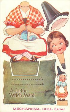 These ingenious movable postcards were published in Each little doll sits on a cushion & has lots of accessories to complete the s. Paper Art, Paper Crafts, Arts And Crafts, Kid Crafts, Welsh Sayings, Vintage Paper Dolls, Little Doll, Paper Toys, How To Make Paper