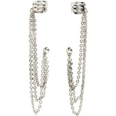 H&M Earrings with ear cuffs (€1,95) ❤ liked on Polyvore featuring jewelry, earrings, h&m, silver, earring ear cuff, ear cuff earrings, h&m jewelry and ear cuff jewelry