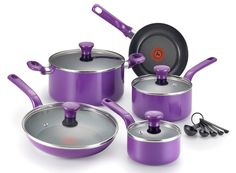 "Cookware in PURPLE! I am such a sucker for the colorful. I used to have a bright pink kitchen. Sort of like an intense mauve. Currently, I""m stuck in a boring, old white kitchen. Boo! But I can envision a purple kitchen too and it looks lovely....does anybody else have weird colored kitchens? ~Dix  Colorful pots: http://amzn.to/2g3wVQ9"