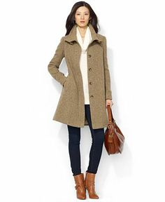 Lauren Ralph Lauren Coat, Leather-Detail Wool-Blend - Coats - Women - Macy's