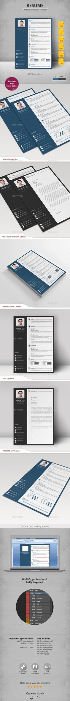 Resume Template PSD, Vector EPS, AI, DOC & DOCX