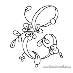 Blumenskript-Monogramme für Stickerei: E-H - Hand Embroidery Stitches Embroidery Alphabet, Embroidery Monogram, Embroidery Patterns Free, Hand Embroidery Stitches, Hand Embroidery Designs, Embroidery Techniques, Ribbon Embroidery, Cross Stitch Embroidery, Machine Embroidery