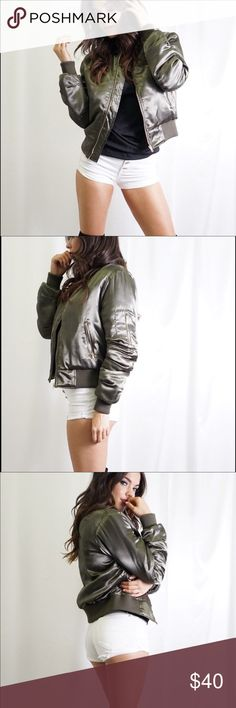 Olive Satin Bomber Jacket. Olive Satin Bomber Jacket. Two front zipper pockets and one arm zipper pocket.  100% Polyester.  Machine wash cold. Tea n Cup Jackets & Coats