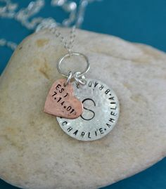 Sterling Silver Family Charm Necklace with Copper by SeaSaltShop, $30.00