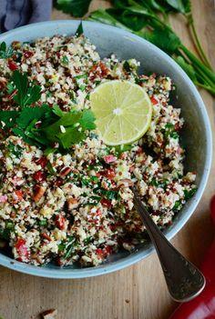 Blomkålstabbouleh med avokado Greens Recipe, Quinoa, Main Dishes, Salsa, Vegan, Ethnic Recipes, Food, Main Course Dishes, Entrees