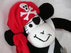Pirate Sock Monkey Doll Plush Toy  MADE TO ORDER by AsYouWishCreations4u, $40.00