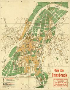 Innsbruck map - Old map fine print on paper or canvas Vintage Maps, Antique Maps, Framed Maps, Architecture Tattoo, Old Maps, Innsbruck, City Maps, Wedding Humor, Funny Art