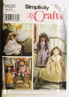 "1990s Vintage Sewing Pattern Simplicity 9620 25"" Doll & Clothes Pattern Uncut by SewYesterdayPatterns on Etsy"
