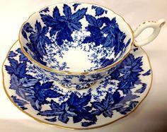 Coalport Cobalt Blue Oak Leaf Chintz Tea Cup and Saucer Gold English Teacup Cup And Saucer Set, Tea Cup Saucer, Tea Cups, Blue And White China, Blue China, Teapots And Cups, Tea Service, My Cup Of Tea, Vintage Tea