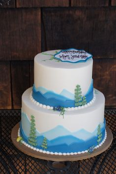 Tiered Blue Mountainscape Birthday Cake Adult Cakes How To Make Custom