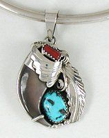 authentic Native American turquoise coral and claw pendant by Elaine Sam Navajo