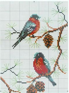 Part 01 - winter birds (top) (total 2 parts) Cross Stitch Love, Cross Stitch Needles, Cross Stitch Animals, Cross Stitch Charts, Cross Stitch Designs, Cross Stitch Patterns, Needlepoint Patterns, Bird Patterns, Loom Patterns