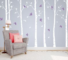 Set of 6 White Tree Wall Decals with Flying Birds