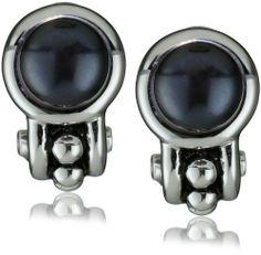 "Honora ""Pallini"" Black Freshwater Cultured Pearl Semi Hoop Omega Back Earrings - http://fashion.designerjewelrygalleria.com/earrings/pearl-earrings/honora-pallini-black-freshwater-cultured-pearl-semi-hoop-omega-back-earrings/"