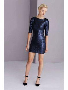 Navy Sequin Scoop Back Mini Dress - from Lavish Alice UK