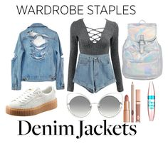 """Untitled #20"" by denisegul ❤ liked on Polyvore featuring WithChic, Puma, High Heels Suicide, Marc Jacobs, Dolce Vita, Maybelline, denimjackets and WardrobeStaples"