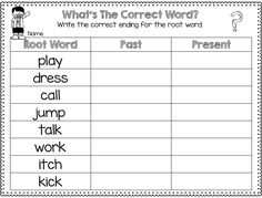 Freebie Root Words ed/ing endings The Past, Present and Future-Making Timelines 2nd Grade Grammar, First Grade Phonics, 2nd Grade Ela, 1st Grade Writing, Grammar And Punctuation, First Grade Reading, Grade 1, Second Grade, Teaching Time