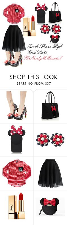 """Rock Those High End Dots"" by thenerdymillennial on Polyvore featuring Irregular Choice, Kate Spade, Miriam Haskell, Chicwish and Yves Saint Laurent"