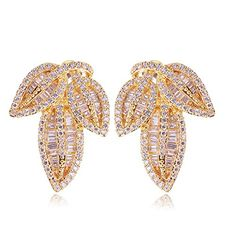 K-DESIGN : New Arrivals Classic Women Earrings Bridal Wedding Jewelry Leaf Shape Top Quality Micro Pave Setting AAA Cubic Zirconia Crystal -- Be sure to check out this awesome product.