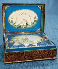 "Antique Needlework Tools and Sewing: 316 Viennese Biedermeier Era Sewing Box ""Dedicated to Friendship"""