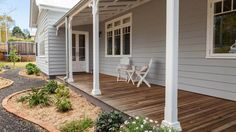 Take full advantage of our Streamlined Building Systems. Control over price, quality and timing without sacrificing individuality or design flexibility. House Paint Exterior, Exterior House Colors, Building A Porch, Building A House, Style At Home, Weatherboard Exterior, Front Verandah, Front Deck, Building Systems