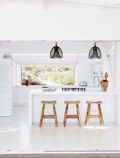 White kitchen, rustic decor, minimalist decor, beach house, South Africa