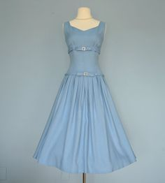 Vintage 1950s Party Dress...Chic Blue Linen Party Dress by deomas, $178.00