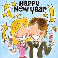 Man en vrouw proosten op het nieuwe jaar- Greetz