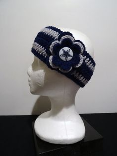 Items similar to Crocheted Earwarmer in Navy and Grey made with Dallas Cowboys fabric button on Etsy Dallas Cowboys Outfits, Dallas Cowboys Women, Cowboy Outfits, Dallas Cowboys Football, Pittsburgh Steelers, Crochet Crafts, Crochet Projects, Yarn Projects, Sewing Projects