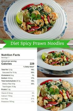 An easy asian style spicy prawn and coconut noodle bowl with lots of vegetables and coriander. Spicy prawn noodles for the diet low calorie recipe No Calorie Foods, Low Calorie Recipes, Diet Recipes, Easy Pasta Recipes, Seafood Recipes, Easy Meals, Simple Recipes, Spicy Prawns, Prawn Shrimp
