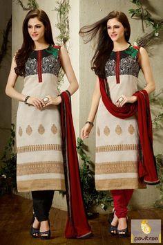 Cream Wedding Wear Pure Silk Salwar Kameez Online Shopping