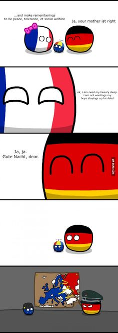"""Parenting Part - I"" ( EU Germaney France )by Baron koleye of kolaje #polandball #countryball #flagball"