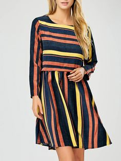 Long Sleeve Dresses | Stripe Stripe Long Sleeve A-Line Dress - Gamiss