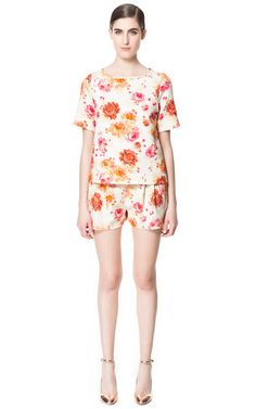 Image 1 of FLOWER PRINT SHORTS from Zara