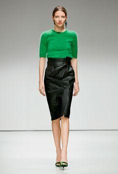 Green Sweater + Black Leather Skirt - Escada Fall 2016 Ready-to-Wear