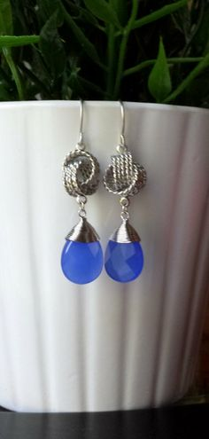 Wire Wrapped Blue Dangle Earrings Faceted Wire by TheCoralDahlia, $18.00
