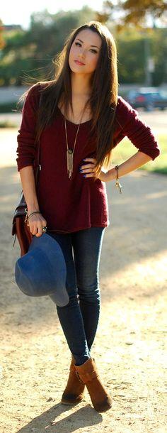 Stlye Me Hip: Burgundy V-Neck Off shoulder Sweater and Cognac Su...