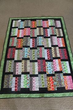 """Message """"Love this quilt.looks like a bookcase full of books. Good idea for some of my jelly rolls that are sitting on my shelf!"""", """"Jelly roll or layer Jellyroll Quilts, Lap Quilts, Scrappy Quilts, Small Quilts, Quilt Blocks, Quilt Baby, Strip Quilt Patterns, Jelly Roll Quilt Patterns, Quilting Patterns"""