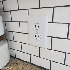 Subway Tile Kitchen Do: Replace Outlet Covers Beveled Subway Tile, Subway Tile Kitchen, Subway Tiles, Diy Tile Backsplash, Tiling, Stove Backsplash, Mosaic Tiles, Bambi, Kitchen Outlets